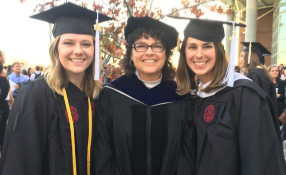 Dr. Roberts with Carly Moser and Kelly Caravella at USC graduation