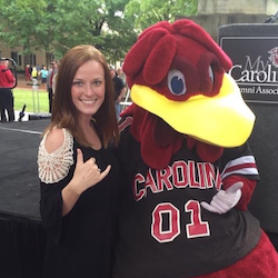Hannah Durham with USC mascot Cocky