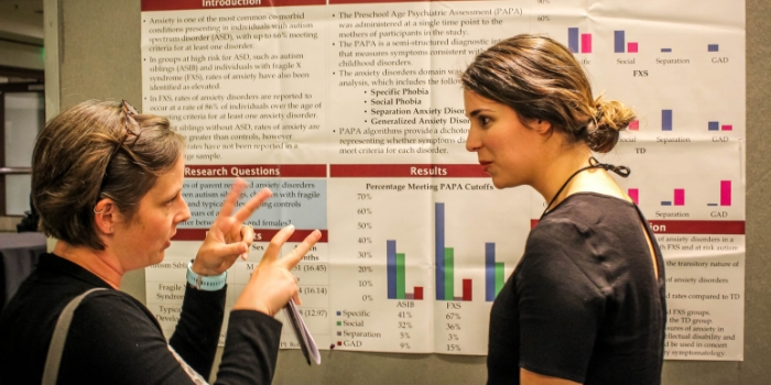 Doctoral student Kelly Caravella presenting a research poster