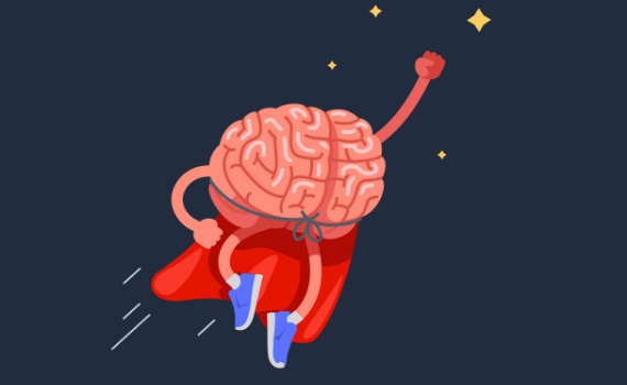 Cartoon of a superhero brain