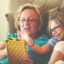 woman and child looking at an iPad